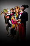 Theater Group in Costumes. A theater group wearing various costumes. Included are Mickey and Minnie Mouse, Sonic the Hedgehog, the moose, a crocodile, polar bear Royalty Free Stock Images