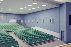 Theater Hall. Empty green armchairs in modern theater Hall Stock Photo