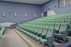 Theater Hall. Empty green armchairs in modern theater Hall Stock Photography