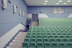 Theater Hall. Empty green armchairs in modern theater Hall Royalty Free Stock Image