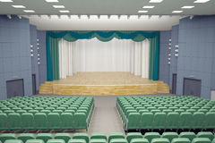 Theater Hall. Empty green armchairs in modern theater Hall Stock Photos