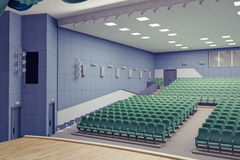 Theater Hall. Empty green armchairs in modern theater Hall Royalty Free Stock Photos