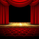 Theater hall. With stage and curtain, this illustration may be useful as designer work vector illustration