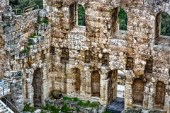 Theater of Herod, Acropolis. Central wall Stock Photography