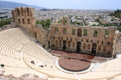 Theater of Herod Atticus. A stone theatre structure located on the south slope of the Acropolis of Athens. It was built in 161 AD by Herodes Atticus in memory of Royalty Free Stock Image