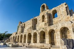 The Theater of Herod Atticus,in Athens, the capital of Greece. The Theater of Herod Atticus, one of the major sights in the Acropolis in Athens, the capital of Royalty Free Stock Image