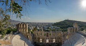 The Theater of Herod Atticus,in Athens, the capital of Greece. The Theatre of Herod Atticus, one of the major sights in the Acropolis in Athens, the capital of Royalty Free Stock Photos