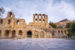 The theater of Herodion Atticus under the ruins of Acropolis, Athens. Stock Image