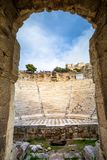 The theater of Herodion Atticus under the ruins of Acropolis, Athens. Greece Stock Image