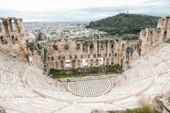 The theater of Herodion Atticus under the ruins of Acropolis, Athens, Greece. Horizontal royalty free stock photography