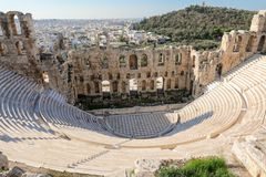 The theater of Herodion Atticus under the ruins of Acropolis, Athens, Greece. Horizontal stock image