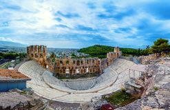 The theater of Herodion Atticus under the ruins of Acropolis, Athens. The theater of Herodion Atticus under the ruins of Acropolis, Athens, Greece Stock Image