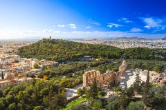 The theater of Herodion Atticus under the ruins of Acropolis, Athens. The theater of Herodion Atticus under the ruins of Acropolis, Athens, Greece Royalty Free Stock Photos