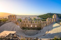The theater of Herodion Atticus under the ruins of Acropolis, Athens. The theater of Herodion Atticus under the ruins of Acropolis, Athens, Greece Stock Images