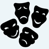 Theater icon with happy and sad masks. Isolated on blue background. Vector silhouettes Stock Photography