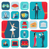 Theater Icons Flat Set Stock Images