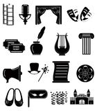 Theater icons set. In black Royalty Free Stock Photos