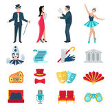 Theater Icons Set Stock Photos