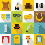 Theater icons set, flat style Royalty Free Stock Image