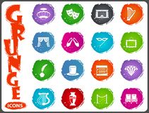 Theater icons set. Theater symbol icons for user interface design Royalty Free Stock Photo