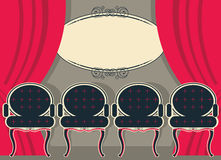 Theater interior with red curtains and chairs. Stock Image