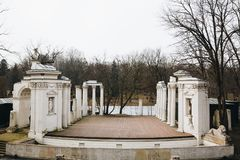 Theater on the Isle on the bank of the Lazienki lake, Park in Warsaw, Poland.  stock photography