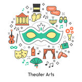 Theater-Kunst-Linie Art Outline Icons Set mit Maske und Ferngläsern Stockbilder