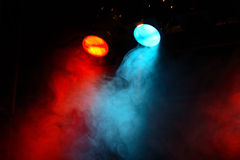 Theater lights. Red and blue theater lights with smoke Stock Image