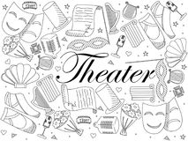 Theater line art design vector illustration. Theater line art design coloring vector illustration. Separate objects. Hand drawn doodle design elements Royalty Free Stock Photo