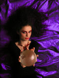Theater MakeUp - Witch. Lady With MakeUp and Crystal Ball royalty free stock images