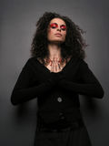 Theater MakeUp - Witch. Lady With MakeUp pray, darknes royalty free stock photos