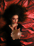 Theater MakeUp - Witch. Lady With MakeUp and Crystal Ball on blue background Stock Images