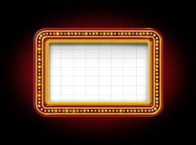 Theater Marquee Sign. Theater marquee blank neon lights sign with glowing Illuminated announcement billboard to promote and communicate an important message to Stock Photos