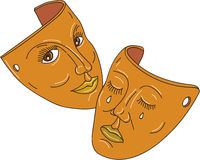 Theater Mask Comedy and Tragedy Mono Line Stock Photo