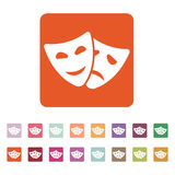 The theater and  mask icon. Drama, comedy, tragedy symbol. Flat Royalty Free Stock Photography