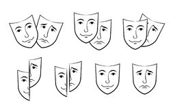 Free Theater Mask Symbols Vector Set, Sad And Happy Concept Stock Image - 100875561