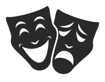 Theater mask symbols vector set, sad and happy concept. Theater emotion mask symbols vector set, sad and happy concept Stock Images