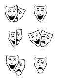 Theater mask symbols vector set, sad and happy concept Royalty Free Stock Photos