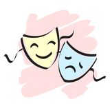 Theater masks. Masks representing theater comedy and drama over white background Royalty Free Stock Photo