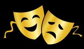 Theater masks. Gold masks silhouette representing theater comedy and drama over white background Royalty Free Stock Photography
