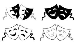 Theater masks. Masks silhouette representing theater comedy and drama over white background Royalty Free Stock Photos