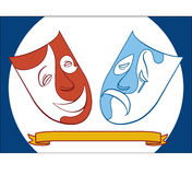 Theater masks. Vector Theater masks Drama Comedy Vector Illustration
