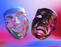 Theater Masks. Digital Illustration of Theater Masks Stock Photos