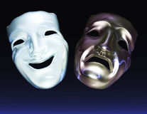 Theater Masks. Digital Illustration of Theater Masks Royalty Free Stock Photos