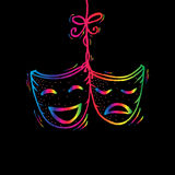 Theater masks, drama and comedy. Royalty Free Stock Photo
