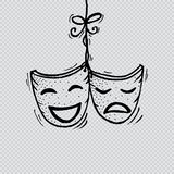 Theater masks, drama and comedy. Royalty Free Stock Photos