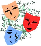 Theater masks on floral decoration isolated. Illustration representing three theater mask with three different facial expression: happy, angry and sad Stock Illustration