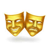Theater masks, gold icons realistic vector Royalty Free Stock Image