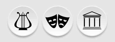 Theater masks and harp icons Royalty Free Stock Images