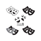 Theater masks icons. In different graphic styles Royalty Free Stock Images